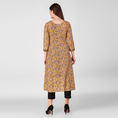 Yellow Printed Floral Kurta