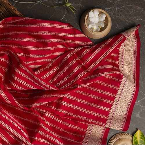 Banarasi Blended Silk Vertical Lines Red Saree
