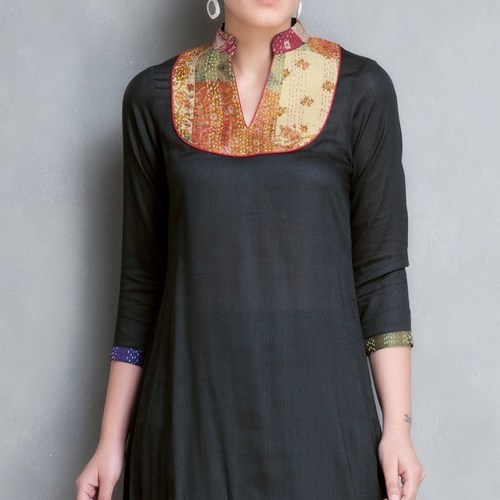 Black Cotton Silk Kantha Yoke Kurta