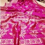 Pink Benarsi Blended Silk Saree