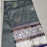 Grey Benarsi Silk Saree