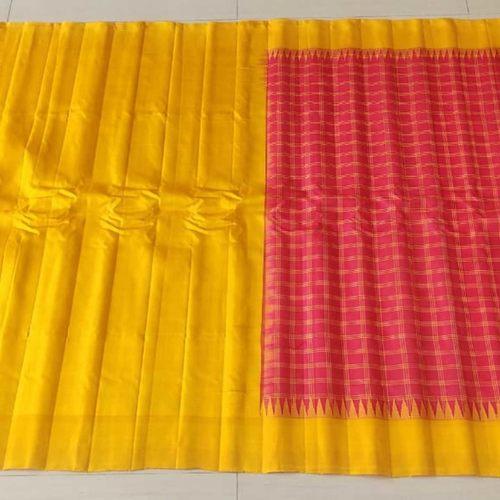 Red Yellow Saree by Indira Priya Darsini Women's Welfare Association