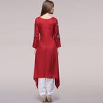 Red Applique Asymmetrical Hem tunic
