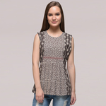 Grey Pleated Dabu-printed Cotton Top