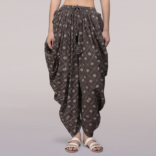 Grey Elasticated Waist Dabu-printed Cotton Dhoti Pants