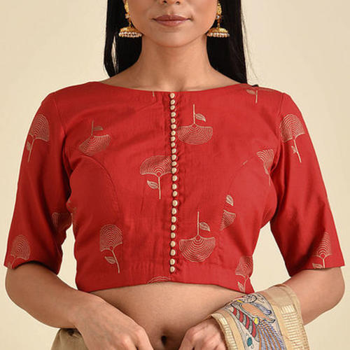 Red Cotton Printed Blouse