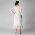 Ivory Cotton lurex layered dress