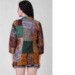 Multicolored Silk Coat with Kantha Embroidery