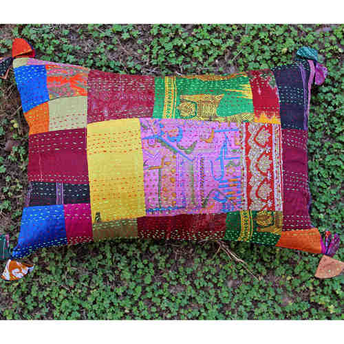 Vintage Silk Kantha Embroidered Cushion cover-12x18