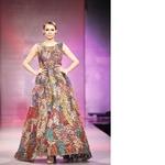 Vintage Silk Kantha Leaf Applique Organza Gown