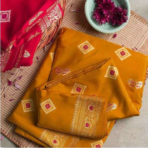 Occur Yellow Banarsi Blended Silk Saree
