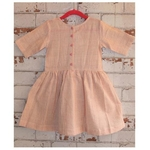 Beige Checks Handloom Organic Kala Cotton Girls Dress