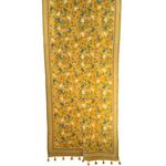 Yellow Cotton Hand Kantha Embroidered Dupatta
