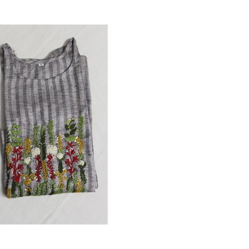 Platinum Rayon Kurta With Anchor Embroidery