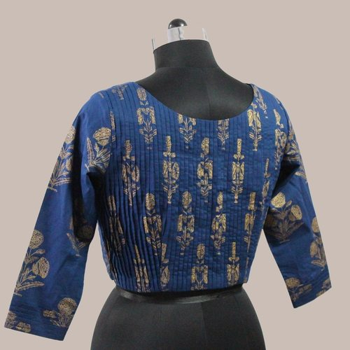 Blue gold printed Pleated Saree Blouse
