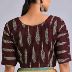 Maroon-Ivory Printed Cotton Blouse