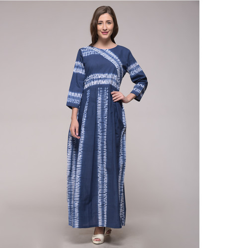 Blue Shibori Striped Dress