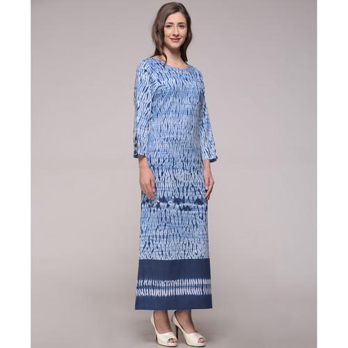 Patched Shibori Slit Dress