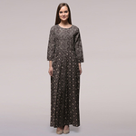 Grey Pleated Yoke Dabu-printed Cotton Dress