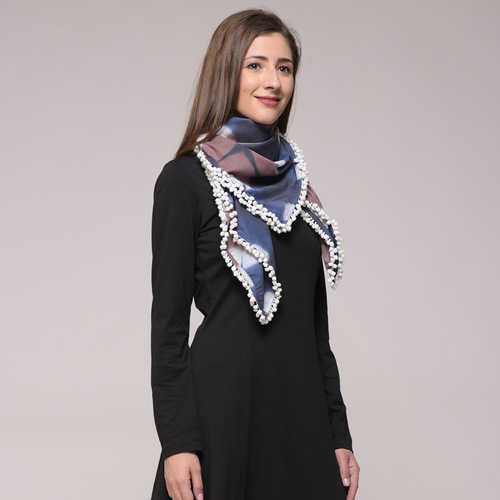 Blue  Clamp Dyed Cotton Scarf