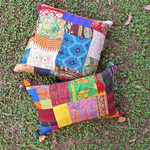 Vintage Silk Kantha Embroidered Cushion cover-18x18
