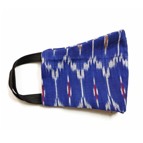 100 Cotton Reusable Handloom Blue Ikat Mask Pack of 4