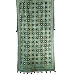 Green Cotton Hand Kantha Embroidered Dupatta