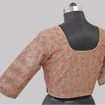 Grey-Pink Printed Chanderi Pleated Blouse With Zari Detailing