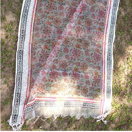Red Floral Block Printed Handloom Silk Organza DupattaStole
