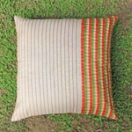Beige Dupion Silk Patch Cushion Cover (Set Of 2)