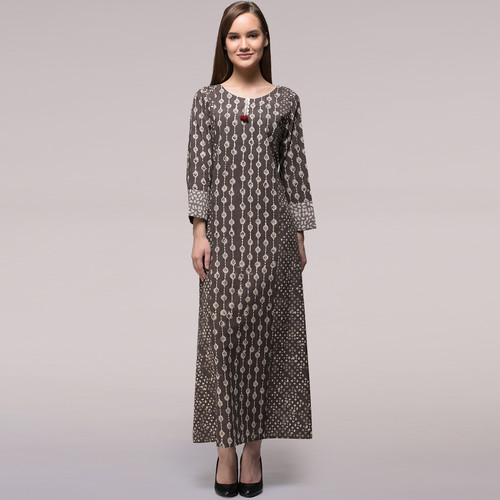 Grey Dabu-printed Cotton Dress