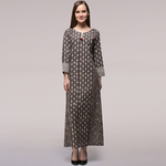 Grey Dabu-printed Cotton Dress