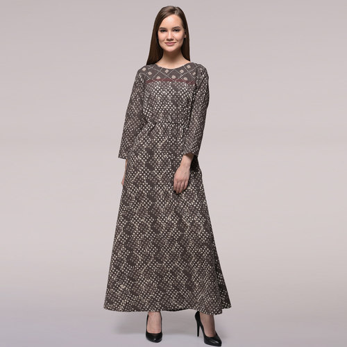 Grey Tie-up Waist Dabu-printed Cotton Dress