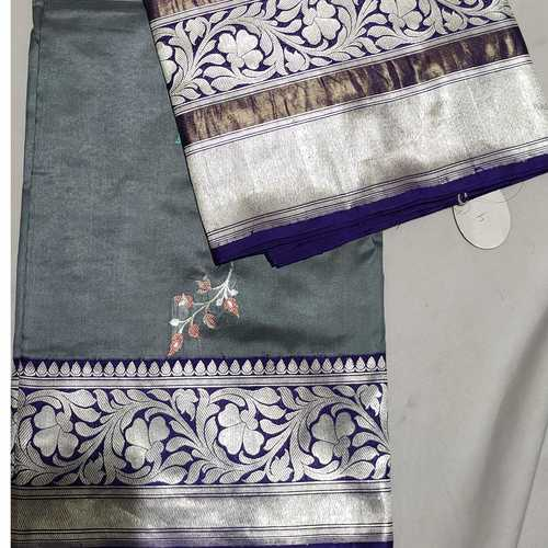 Grey Benarsi Silk Saree