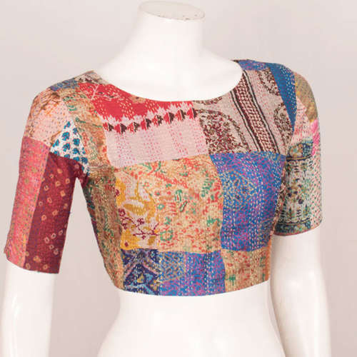 Vintage Silk Kantha Embroidered Patch Blouse