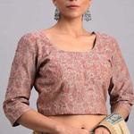 Printed Pink Chanderi Blouse