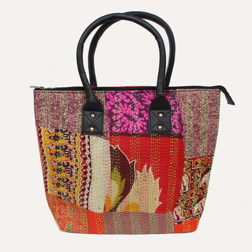 Vintage Silk kantha Red Multicolored Tote Bag