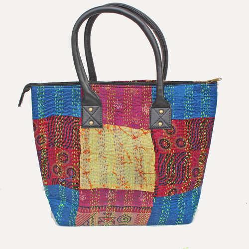 Vintage silk kantha Red Blue Tote Bag