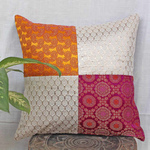 """Fushia Yellow Brocade Patch Cushion Cover (16""""x16"""")"""