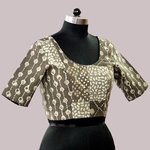Brown Block Print Dabu Patchwork Blouse