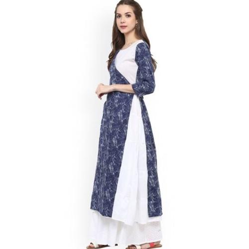 indigo and White double layered Anarkali Kurta