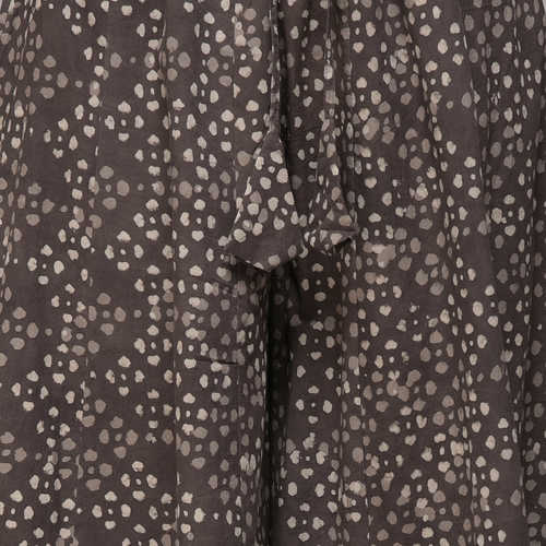 Grey Elasticated Waist Dabu-printed Cotton Palazzos