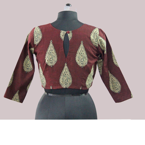 Red Printed Cotton Patch Saree Blouse
