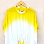 Yellow White Ombre Dyed Chiffon Kaftan