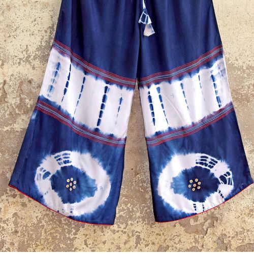 Indigo Tie Dye Embellished Palazzo