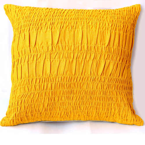 Yellow Cotton Lurex Gathered Cushion cover-18x18