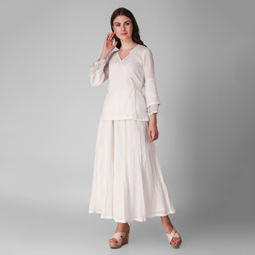 Ivory Cotton Crepe Tie Up Top With Skirt - Set Of Three