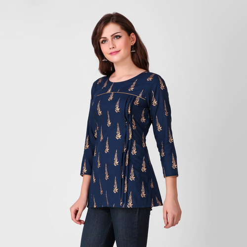 Blue Gold Pleated Tunic