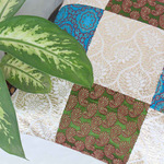 Green Blue Brocade Patch Cushion cover 16x16