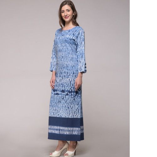 Patched Shibori Slit Dress
